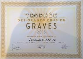 Château Magence - diplôme trophée des grands crus de Graves 2015